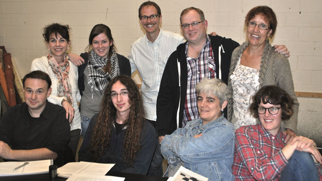Participants in 2013-14 Playwright's Junction include (back row, from left) Line Roberge, Caitlin Heppner, Matthew Heiti (co-ordinator), Andy Taylor and Jan Buley, (front row, from left) Jesse Brady, Jordano Bortolotto, Marie Woodrow and Anne Boulton.