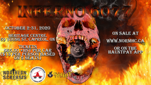 Poster advertising the Northern Ontario Raildroad Museum and Heritage Centre's Halloween event Inferno 6077 for October 2020